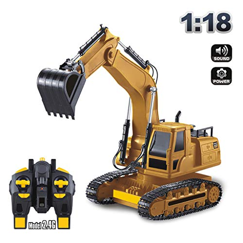 Fine Excavator 2.4G 1/16 Scale 8 Channel Remote Control Truck RC Engineering Vehicle,Full Functional Remote Control Excavator Construction Tractor Toys Gift (Yellow)
