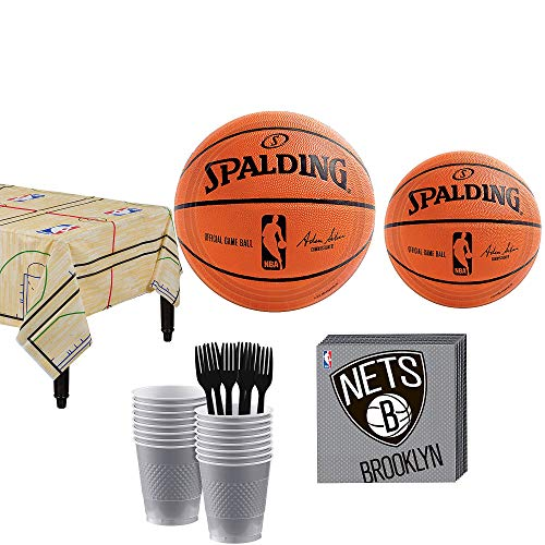 Party City Brooklyn Nets Party Kit 16 Guests, Includes Table Cover, Plates, Napkins and More