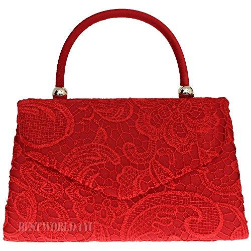 Wocharm (TM) Women's Satin Floral Lace Clutch Bag Evening Bridal Party Wedding Fashion Prom Bag Vintage UK 1# Handbag Red
