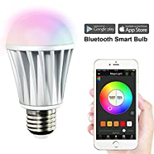 MagicLight Bluetooth Smart LED Light Bulb - Dimmable Multicolored Color Changing Smart LED Lights - Smartphone Controlled - Works with Apple Watch, iPhone, iPad, Android Phone and Tablet