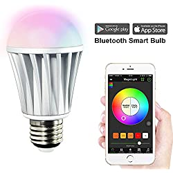 MagicLight Bluetooth Smart LED Light Bulb - Smartphone Controlled Sunrise Wake Up Lights - Multicolored Color Changing Disco Light - Dimmable Sunset Sleeping Light - 7 Watts