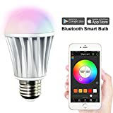 MagicLight Bluetooth Smart LED Light Bulb - Smartphone Controlled Sunrise Wake Up Lights - Dimmable Multicolored Color Changing Party Lights Bulb - 7 Watts (60Watts Equivalent)