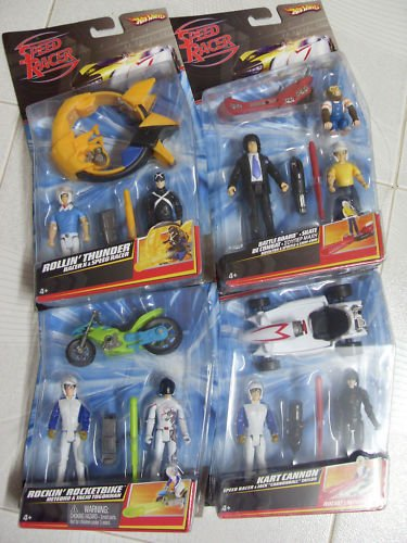 Hot Wheels Speed Racer Action Figure 2 Packs. The Four Included Speed Racer Two Packs are Rollin Thunder, Battle Board, Rockin Rocketbike, Kart Cannon. Includes Speed Racer (3), Pops, Spridle, Chim Chim, Racer X, Taejo, Jack Cannonball Taylor. (Figure Hot Wheels)