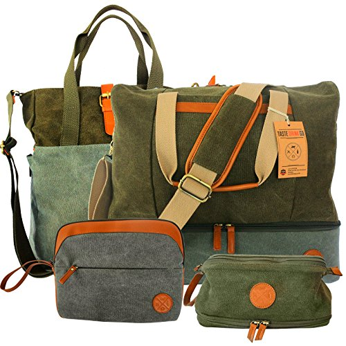 4 Piece Weekend Travel Bag Set - Includes: Canvas Tote, Toiletry Kit, Ipad Wristlet and Weekender Shoulder Bag. Weekend Travel made simple by TASTE DRINK GO. Makes a great Gift! by Taste Drink Go