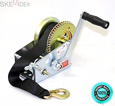SKEMiDEX---2500lbs Dual Gear Hand Winch Hand Crank Nylon Strap Gear Winch ATV Boat Trailer. Mooring hook equipped with a safety pawl, designed to provide excellent load lifting facility