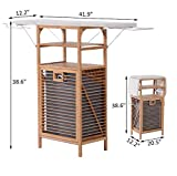 2 in 1 Bamboo Folding Corner Foldable Ironing Board And Laundry Hamper Center Storage Cabinet Organizer Unit With 2 Tier Shelves Clothes Hanger Iron Rest Household Essentials Large Storage Space