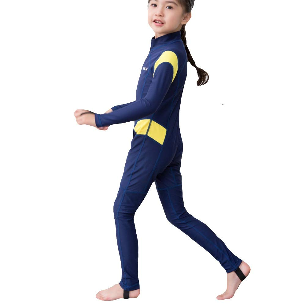 ELINKMALL Kids Wetsuits Rash Guards Girl Boy Swim Diving Sportswear Suits Uv Protection Full Body Long Sleeve One Piece Swimsuit Surfing Suit Yellow