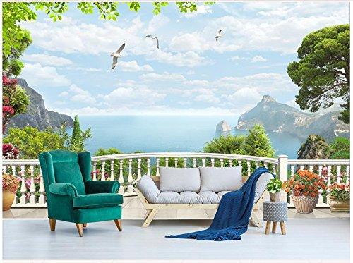 Mznm Custom 3D Photo Wallpaper 3D Wall Murals Wallpaper 3D European Style Window Balcony Sea Mural Tv Background Wallpaper Home Decor 350X250cm
