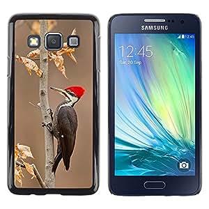 FlareStar Colour Printing Woodpecker Red Beak Autumn Winter cáscara Funda Case Caso de plástico para Samsung Galaxy A3 / SM-A300