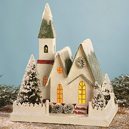 "Bethany Lowe 14"" Traditional Christmas Mantel Church with Green Roof"