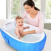 mixigoo Inflatable Baby Bathtub, Infant Mini Swimming Pool Foldable Non Slip Travel Air Bath Basin with Soft Cushion Central Seat for New Born Toddler Kids