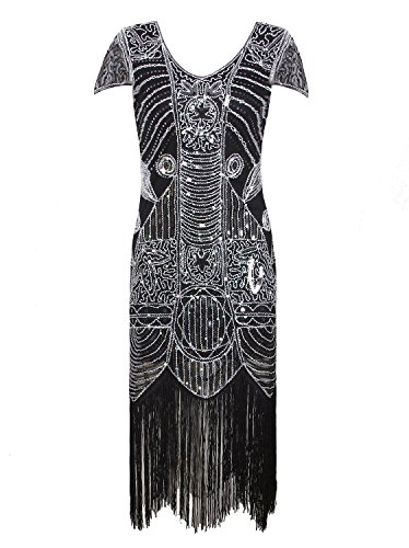 Vijiv 1920s Gatsby Flapper Dresses With Sleeves Sequin Art Deco Cocktail Dress, Silver Grey, XX-Large ()