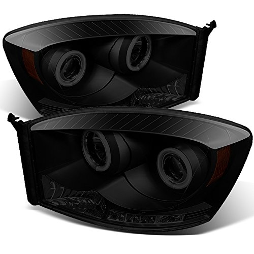- For Dodge Ram Pickup Truck Black Smoke Dual CCFL Halo Ring LED Projector Headlights Pair Replacement