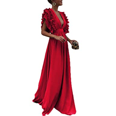 20beb20f6d9 Image Unavailable. Image not available for. Color  Honwenle Women Deep V- Neck Pleat Flounce Short Sleeve Maxi ...