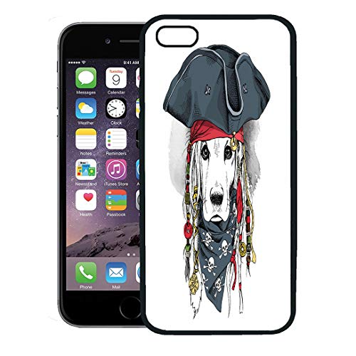 Semtomn Phone Case for iPhone 8 Plus case Cover,Costume Portrait of Cocker Spaniel Dog in Pirate Hat Bandana Dreadlocks Animal,Rubber Border Protective Case,Black
