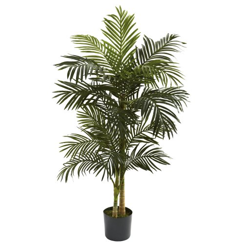 Palm Bent Tree - Nearly Natural 5358 Golden Cane Palm Tree, 5-Feet, Green