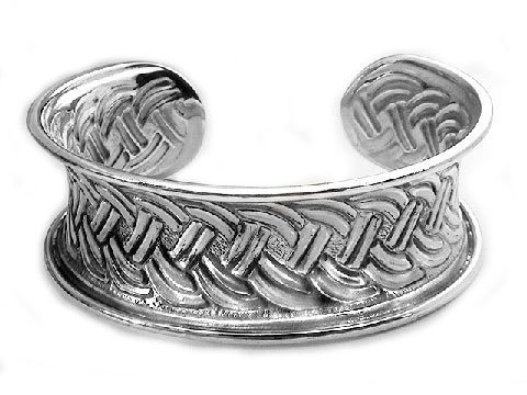 Wide Sterling Silver Braided C