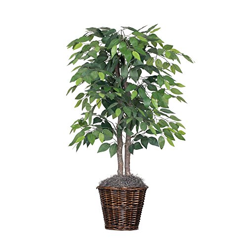 Vickerman 4-Feet Artificial Natural Ficus Bush with Dark Green Leaves in Decorative Rattan Basket (Indoor Plants Faux)