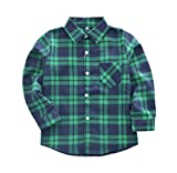 Tortor 1Bacha Little Boys' Long Sleeve Button Down Plaid Flannel Shirt Green Blue 7