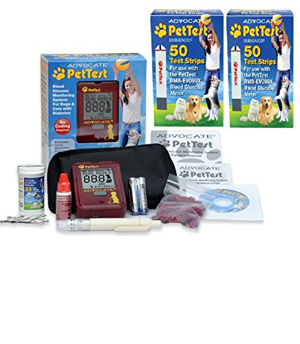 125 Tests - PetTest Free Meter KIT with the Purchase of 100 Advocate Diabetic strips (125 Test Strips Total)