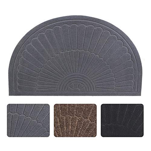 Half Round Door Mat Entrance Rug Floor Mats, Waterproof Floor Mat Shoes Scraper Doormat, 18''x30'' Patio Rug Dirt Debris Mud Trapper Out Door Mat Low Profile Washable Carpet (Gray)