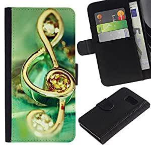 LASTONE PHONE CASE / Lujo Billetera de Cuero Caso del tirón Titular de la tarjeta Flip Carcasa Funda para Samsung Galaxy S6 SM-G920 / Music symbol jewelry