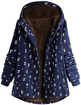 iFOMO Womens Winter Warm Outwear Floral Print Hooded Slant Pockets Vintage Oversized Coats