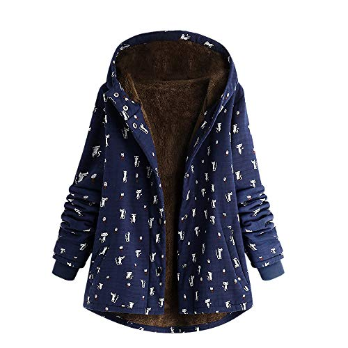 Clearance Sale ! Women's Winter Warm Outwear Cat Print Hooded Pockets Vintage Oversize Hasp Coats Plus Velvet Outwear Overcoat (Dark Blue, M) from Kshion_Women blouse