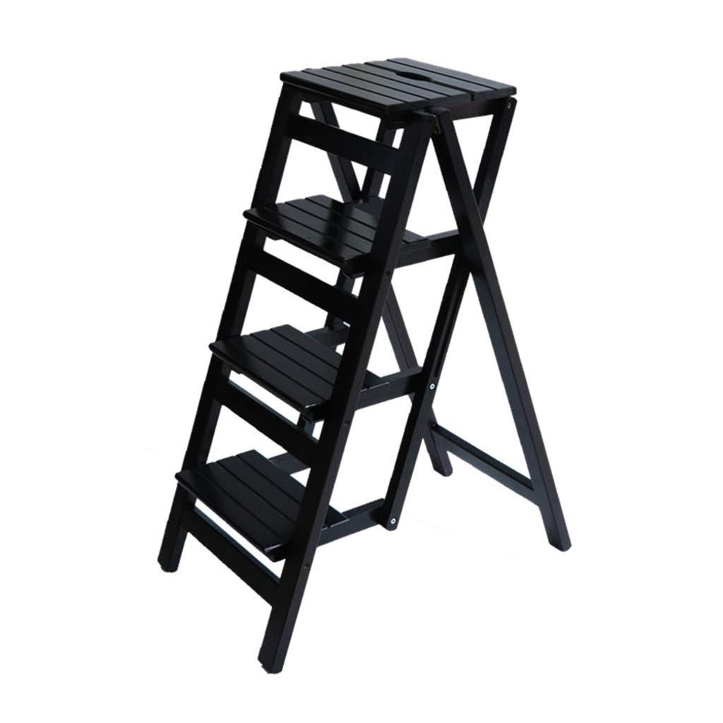 Échelle pliante Tabouret 4 marches en bois pour adulte Siège de tabouret Ladder-forme Support pour plante pour la cuisine Salon Chambre Balcon Jardin Étagère à chaussures Noir LAXY-Chaises