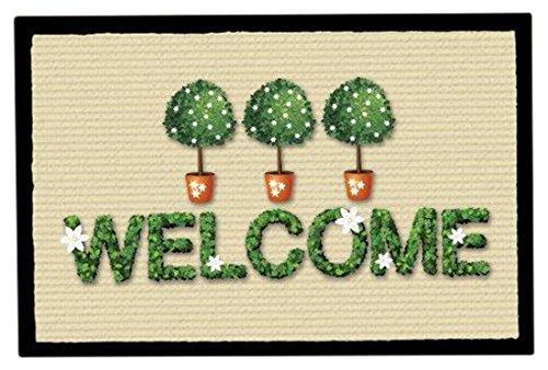 Achoka Welcome 4 Paillasson Polyester Imprimé 60 x 40 x 1 cm