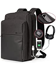 BISON DENIM Laptop Backpack with USB port charger and Lock Slim Business Computer Backpack Anti-Theft Water Repellent...