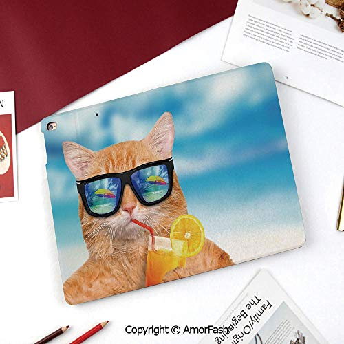 (Funny Galaxy Tab A 8.0 2015 Model Case,SM-T350 Case,PU Leather Folio Stand Case,Cat Wearing Sunglasses Relaxing Cocktail in The Sea Background Summer Kitty Image)