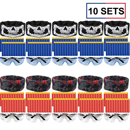 Nerf Gun Birthday Party Supplies (POKONBOY Compatible with Fortnite Nerf Guns Party Supplies - 10 Sets Blaster Guns Birthday Party Favors Accessories Works with Nerf Gun Include Face Mask Kids Form Darts, Tactical Glasses for)