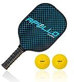 Apollo Pickleball Paddle with 2 Pickleballs | Lightweight Premium Graphite/Carbon Fiber | Meets USAPA Specifications