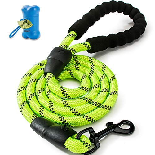 HIPIPET Dog Leash Large Dogs Leashes Rope Highly Reflective with Comfortable Soft Padded Handle for Large and Medium Dogs