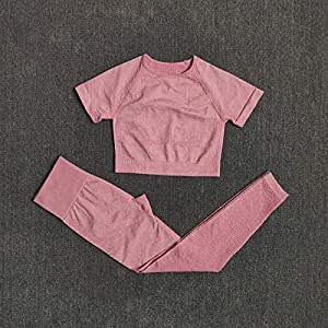 Beiziml 2 Pieces Set Seamless Yoga Set Women Workout Sportswear Fitness Short Sleeve Culture Shirt High Waist High Leggings Pants Sports Suits
