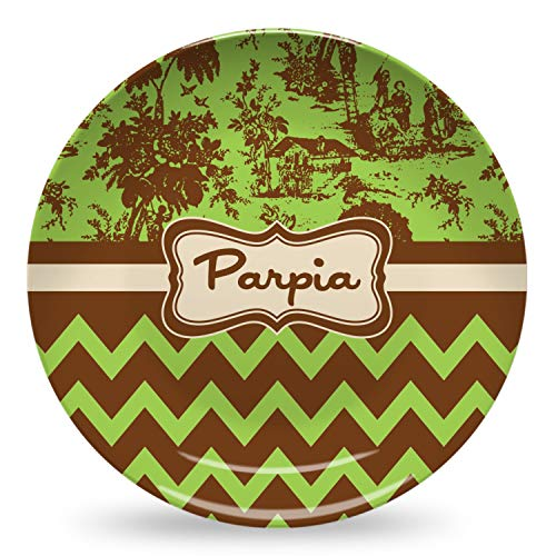 Green & Brown Toile & Chevron Microwave Safe Plastic Plate - Composite Polymer (Personalized) (Toile Brown Plates)