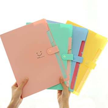 Amazon.com: Dunnomart 4 Color A4 Kawaii Carpetas Smile Waterproof Carpeta File Folder 5 Layers Archivadores Anillas Document Bag Office Stationery: Kitchen ...