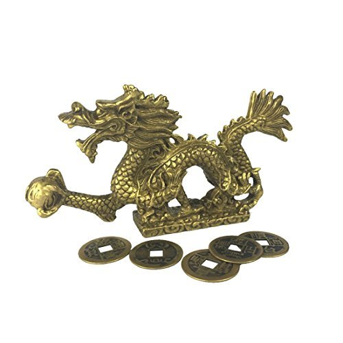 (Chinese Fenghsui Dragon Magical and Noble Copper Dragon Sculpture Figurine Home Decoration )