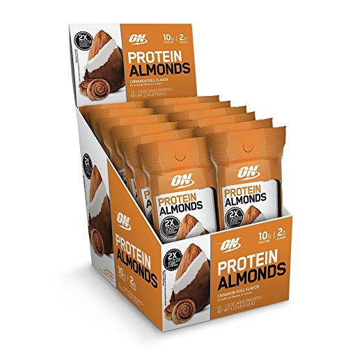 Optimum Nutrition Protein Almonds Snacks, On The Go Nutrition, Flavor: Cinnamon Roll, Low Sugar, Made with Whey Protein Isolate, 12 Count