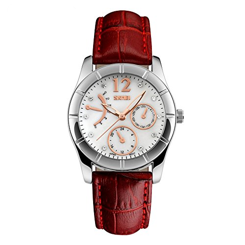 Price comparison product image J.Market Womens Quartz Watch 50 Meters Waterproof Quartz Fashionable Watch with Genuine Leather Band (Red)