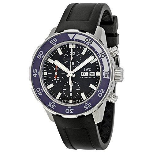 IWC Aquatimer Chronograph Automatic Black Dial Black Rubber Mens Watch 3767-11BLK