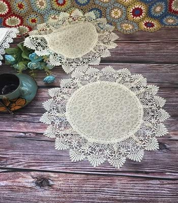 Elegent Beige Fabric Placemats with Beige Lace Border for Wedding Party Home Dinner Room Decoration 15'' - Placemats Trimmed