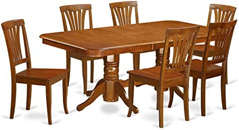 NAAV7-SBR-W 7 Pc formal Dining room set-Dining Table and 6 Kitchen Dining Chairs