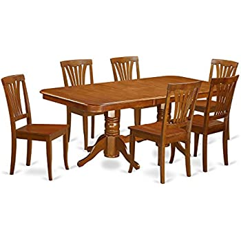 East West Furniture NAAV7 SBR W 7 Piece Formal Dining Table Set