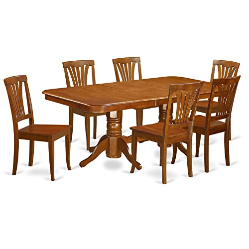 East West Furniture NAAV7-SBR-W 7-Piece Formal Dining Table (Double Pedestal Butterfly Leaf Table)