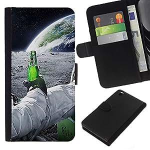 NEECELL GIFT forCITY // Billetera de cuero Caso Cubierta de protección Carcasa / Leather Wallet Case for HTC DESIRE 816 // Astronauta de la cerveza