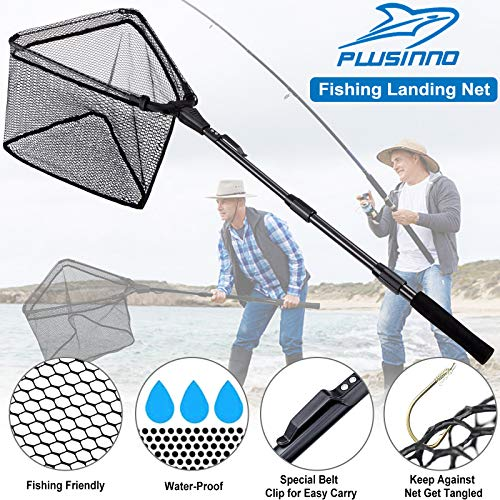 "PLUSINNO Fishing Net Fish Landing Net, Foldable Collapsible Telescopic Pole Handle, Durable Nylon Material Mesh, Safe Fish Catching or Releasing (16"")"