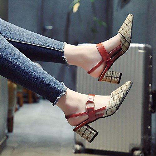 de Primavera Alto Sandalias vacías Plaid de con tacón b Punta Señoras Parte Square Zapatos YMFIE y Moda Cabeza de Tobillo talón Verano señaló qwY0OX1