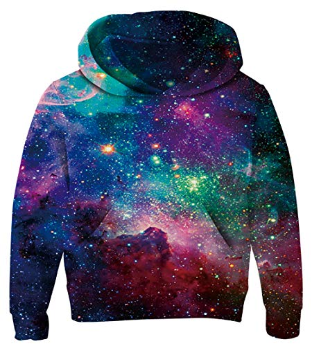 UNICOMIDEA 11-14T Boys' Hoodies Purple Pullover Sky Printing Sweatshirt Cardigan Teenagers Pullover with Kangaroo Pocket XXL